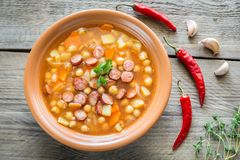 Soup with chickpeas and smoked sausage Royalty Free Stock Photography