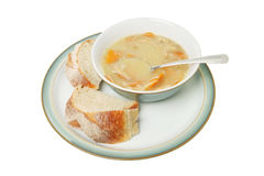 Soup and chunky bread Royalty Free Stock Images