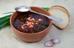 Soup in a clay dish Stock Photo