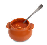 Soup in clay pot Royalty Free Stock Photo