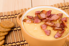 Soup close up with bacon. Royalty Free Stock Photography