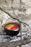 Soup cooking in sooty cauldron on campfire. Borscht (Ukrainian traditional soup) cooking in sooty cauldron on campfire. Selective focus on pot Royalty Free Stock Photography