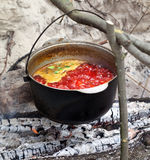Soup cooking in sooty cauldron on campfire. Borscht Ukrainian traditional soup cooking in sooty cauldron on campfire. Selective focus on pot Stock Image