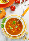 Soup with corn, pumpkin and peppers Royalty Free Stock Image