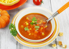 Soup with corn, pumpkin and peppers Royalty Free Stock Photography