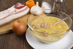 Soup country style with a quenelle Royalty Free Stock Image