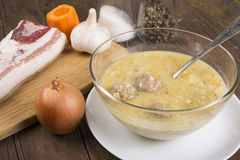 Soup country style with a quenelle Royalty Free Stock Photography