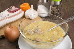 Soup country style with a quenelle stock photos