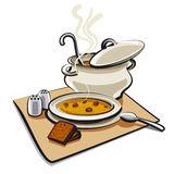 Soup with croutons Stock Images