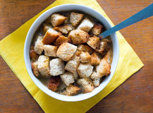 Soup with croutons royalty free stock photo