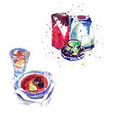 Soup with croutons Watercolor sketch Teapot Cup Juice Tetrapack. Dots Paints Stock Photography
