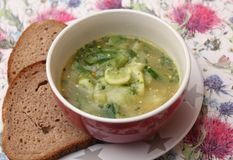 Soup of cucumber. A fresh soup of cucumber with herbs royalty free stock photography