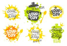 Soup of the day, sketch style cooking lettering icons set. For badges, labels, logo restaurant, menu, kitchen classes, cafe, food studio. Hand drawn vector stock illustration