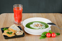 Soup in a deep plate with juice Royalty Free Stock Photo