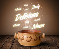 Soup with delicious and tasty glowing writings Stock Photo