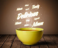 Soup with delicious and tasty glowing writings Royalty Free Stock Photos