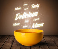 Soup with delicious and tasty glowing writings Stock Photos