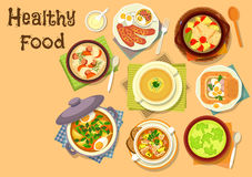 Soup dishes icon for healthy lunch menu design. Healthy lunch with soup dishes icon of fish vegetable soup, beef sorrel soup with egg, broccoli cream soup, oat Royalty Free Stock Image