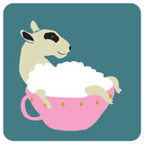 Soup dog. Vector illustration of funny dog take shower in a pink cup of soup Royalty Free Stock Photo