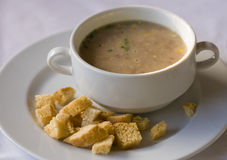 Soup with dried crust Stock Images