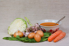 The soup, egg and fresh vegetables. From kitchen garden Royalty Free Stock Image