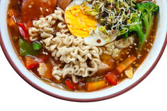 Soup with egg , meat and noodles Royalty Free Stock Photos