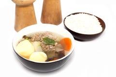 Soup with egg tofu Stock Photos