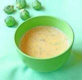 soup för puré för brussels kålpumpa arkivbild