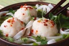 Soup with fish balls, noodles and fresh herbs macro. horizontal Royalty Free Stock Image