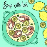 Soup with fish and lemon hand draw. Top view Royalty Free Stock Image