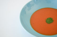 Soup. Food, tomato or gaspacho, on blue plate over white background Stock Photography