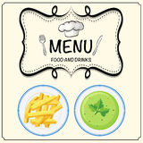 Soup and frenchfries on menu Royalty Free Stock Image