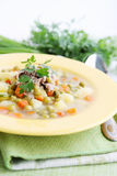 Soup with fresh green peas Royalty Free Stock Photography