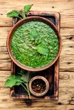 Nettle leaf soup. Soup with fresh nettles.Russian traditional nettle soup royalty free stock photo