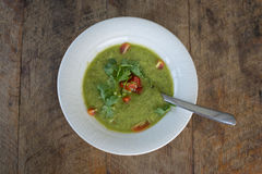Soup gazpacho on wooden table, close up Royalty Free Stock Images