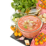 Soup gazpacho with yellow tomatoes Royalty Free Stock Image
