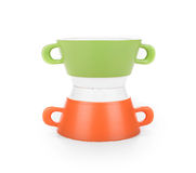 Soup green and red bowl stack. Stock Image
