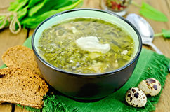 Soup green of sorrel on the board Stock Image