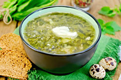 Soup green of sorrel and nettles with eggs on the board Stock Image