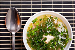 Soup with greenery Royalty Free Stock Images