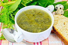 Soup of greenery with bread on cloth Stock Image