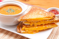 Soup and grilled cheese Royalty Free Stock Photo