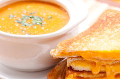 Soup and grilled cheese Royalty Free Stock Images