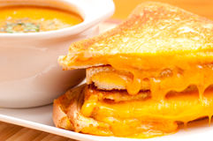 Soup and grilled cheese Stock Photo