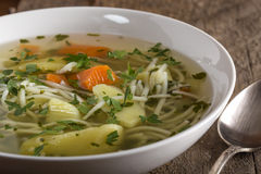 Soup with handmade noodles Stock Photo