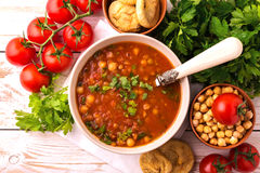 Soup Harira with figs. Ramadan food. Traditional Jewish cuisine Stock Photography