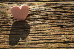 Soup Heart On Wood Textured, Which Shadow And Light Royalty Free Stock Image