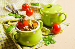 Soup with homemade pasta Royalty Free Stock Image