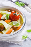 Soup with homemade pasta Stock Image
