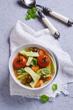 Soup with homemade pasta Stock Images